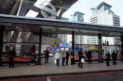 Passengers waiting for the train at a station in Canary Wharf. Stock Photography