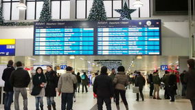 Passengers waiting for a train at the station. Passengers at the central station of the city stock footage