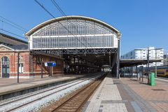 Passengers waiting at a train station of The Hague, the Netherlands Royalty Free Stock Photo