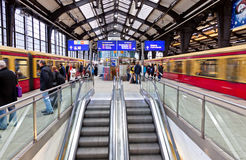 Passengers waiting trains at Friedrichstrasse S-Bahn station Royalty Free Stock Images