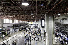 Passengers walk through Guarulhos Airport in Sao Paulo, Brazil Stock Image