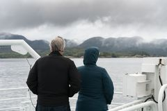 Passengers on wet tour boat to see Pulpit rock Stock Images