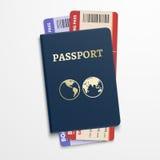 Passeport avec des billets d'avion Concept de déplacement de tourisme international illustration stock