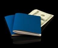 Passeport avec l'argent pour le voyage Photographie stock libre de droits