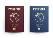 Passeport avec la carte l'australie Illustration réaliste de vecteur Passeports rouges et bleus avec le globe international illustration libre de droits