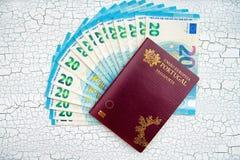 Passeport biométrique avec l'euro devise Fond criqué photographie stock