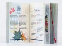Passeport canadien 2014 de couverture intérieure Photos libres de droits