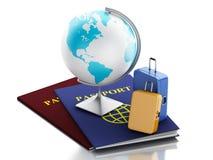 passeport 3d, globe de la terre et valises de voyage Image stock
