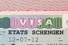 Passeport d'oin de sceau de Schengen Images libres de droits