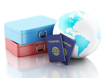passeport 3d, valises de voyage et globe de la terre Photographie stock