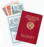 PASSEPORT DE L'URSS, ARGENT ET LIVRET DE BANQUE photo libre de droits