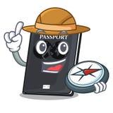 Passeport de noir d'explorateur sur la table de mascotte illustration stock