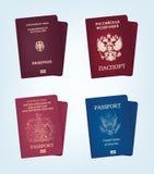 Passeport des Etats-Unis d'Amérique, de l'Allemagne, de la Russie et du royaume Unite Photographie stock libre de droits
