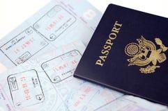 Passeport des USA : Rome, Francfort Images stock