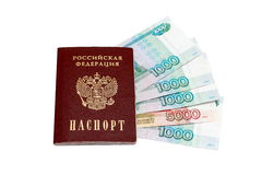 Passeport et argent russe Photos stock