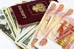 Passeport et argent russes Photographie stock