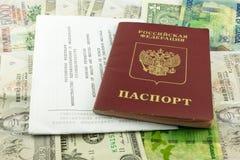 Passeport et certificat de la vaccination Photographie stock libre de droits