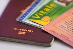 Passeport et d'autres pièce et cartes d'identité Images libres de droits
