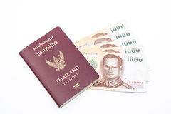 Passeport et maney de la Thaïlande Image stock