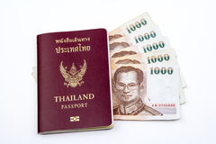 Passeport et maney de la Thaïlande Images stock