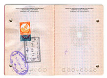 Passeport européen avec les timbres égyptiens Photo libre de droits