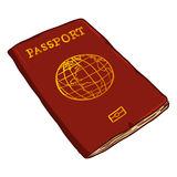 Passeport international rouge de bande dessinée de vecteur illustration de vecteur