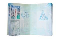 Passeport néerlandais utilisé avec des timbres photographie stock libre de droits