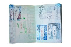 Passeport néerlandais utilisé, page de timbre image libre de droits