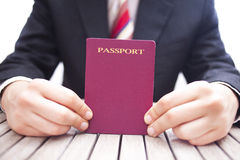 Passeport pourpre Photos stock