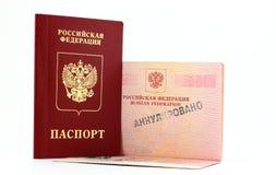 Passeport russe annulé images libres de droits