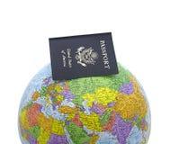 Passeport sur le globe Images libres de droits