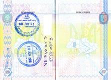 Passeport ukrainien avec des timbres de la Jordanie Photographie stock libre de droits
