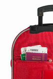 Passeports dans la poche de valise photos stock