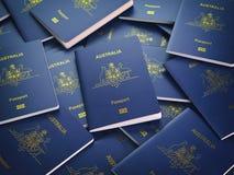 Passeports de fond d'Australie Concept d'immigration ou de voyage illustration de vecteur