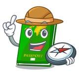 Passeports de vert d'explorateur d'isolement dans les bandes dessinées illustration libre de droits