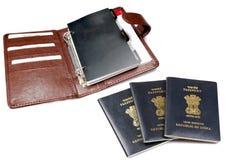 Passeports et agenda d'affaires photographie stock