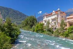 At Passer river in Meran. South Tyrol stock photos