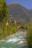 At Passer river in Meran. South Tyrol stock photography