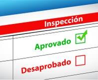 Passerade inspektionsresultat och kuggningval Arkivbilder