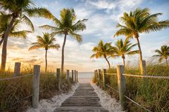 Passerella alla spiaggia fotografia stock