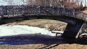 Passerella del fiume del parco in primavera stock footage