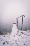 Passerella di Snowy con le inferriate del metallo vicino allo stagno Fotografia Stock