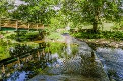 Passerella e guado su una corrente in un'area boscosa Fotografie Stock