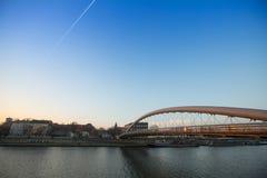 Passerella Ojca Bernatka - ponte sopra il Vistola Fotografie Stock Libere da Diritti