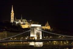 Passerelle à chaînes Budapest Photo libre de droits