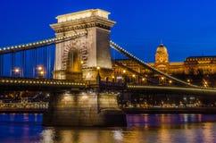 Passerelle à chaînes, Budapest Images stock