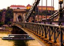 Passerelle à chaînes, Budapest image stock
