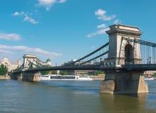 Passerelle à chaînes, Budapest, Hongrie Image libre de droits