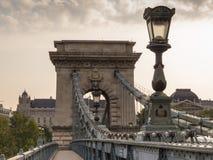 Passerelle à chaînes, Budapest, Hongrie images libres de droits