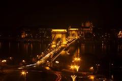 Passerelle à chaînes de Széchenyi à Budapest, Hongrie Image stock